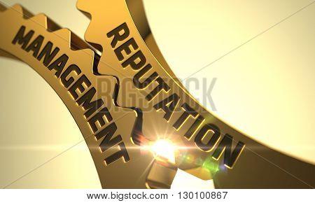 Reputation Management - Industrial Design. Reputation Management on the Golden Metallic Cog Gears. Reputation Management - Illustration with Glowing Light Effect. 3D.