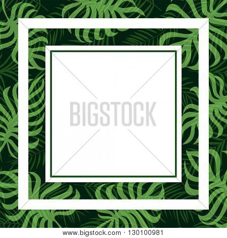 frame tropical palm leaf and monstera 10eps