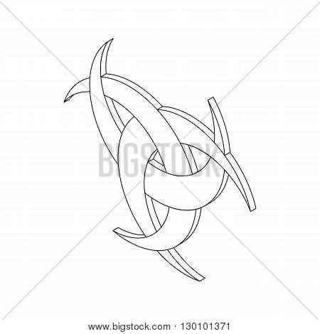 Odin horn icon, isometric 3d style.  Vikings symbol. Black illustration on white for web