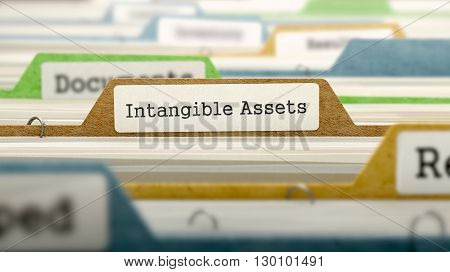 Intangible Assets Concept. Colored Document Folders Sorted for Catalog. Closeup View. Selective Focus. 3D Render.