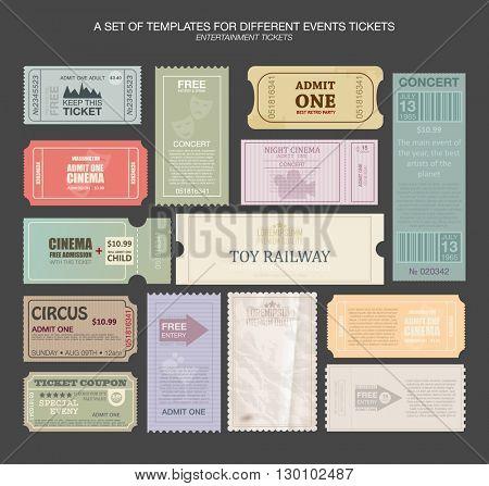 tickets in different styles. Vector illustration. Collection vintage tickets and Coupons.tickets for various events: festival, cinema, circus, theater, attractions. Entry tickets.