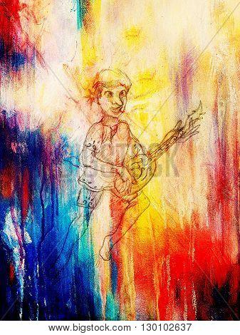 Man - Dwarf plaing lute. pencil sketch on paper, Color effect. Original hand draw