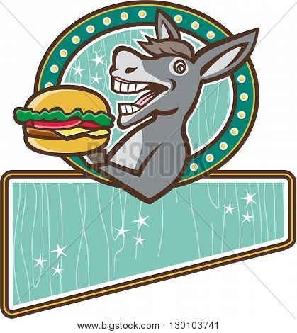 Illustration of a donkey ass mule or horse mascot serving up a hamburger burger sandwich viewed from the side set inside oval shape and rectangle shape in the bottom with woodgrain done in 1950s retro diner style