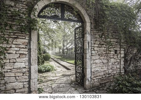 Ancient Gate Ruins on the Park. Bulgaria.