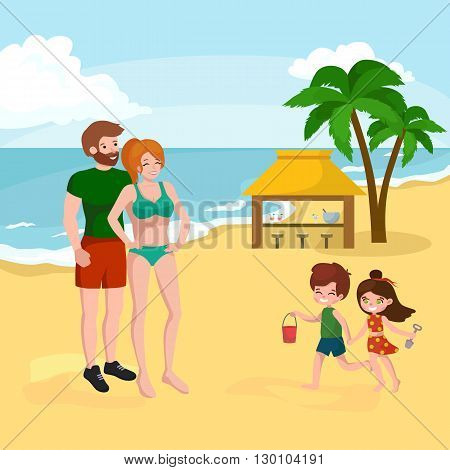 Fun at the beach. Happy kids plaing in the  sand around water vector illustration