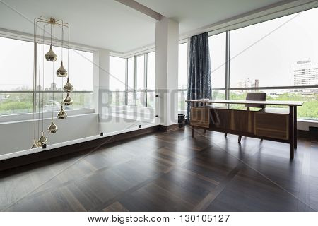 working table in a luxury duplex apartment