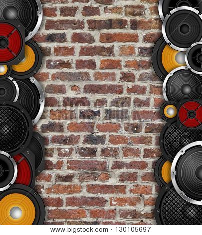 Different types of speaker vertical frame on brick wall