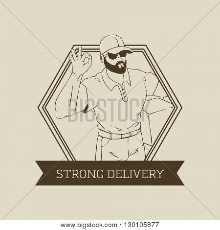 Vector logo or badge design with hipster man builder in cool retro style