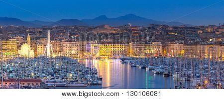 Marseille vieux port, France at night.