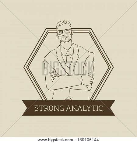 Vector logo or badge design with hipster man office financist in cool retro style