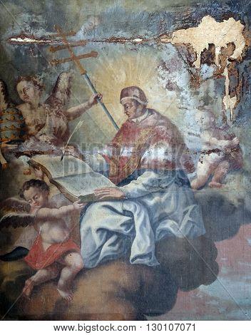 KOTARI, CROATIA - SEPTEMBER 16: Saint Ambrose altarpiece in the church of Saint Leonard of Noblac in Kotari, Croatia on September 16, 2015.
