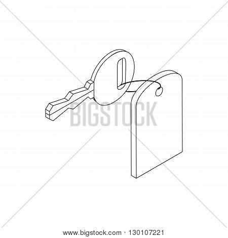 Hotel key with keychain icon in isometric 3d style isolated on white background