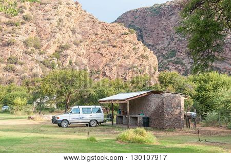 BAVIAANSKLOOF SOUTH AFRICA - MARCH 5 2016: Camping at Bo-Kloof in the Baviaanspoort (baboon valley). The ablution facilities and barbecue area are visible