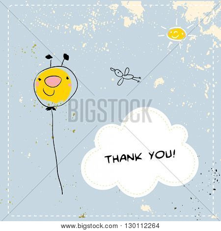 Kids thank you card vector illustration, balloon in the air.