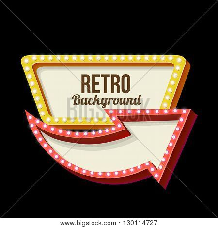 3d Vintage street sign. Retro banner with glowing lights. Volume symbol of the frame. Design element for your poster, advertising, text. Night sign with arrow. Frame, arrow icons. illustration