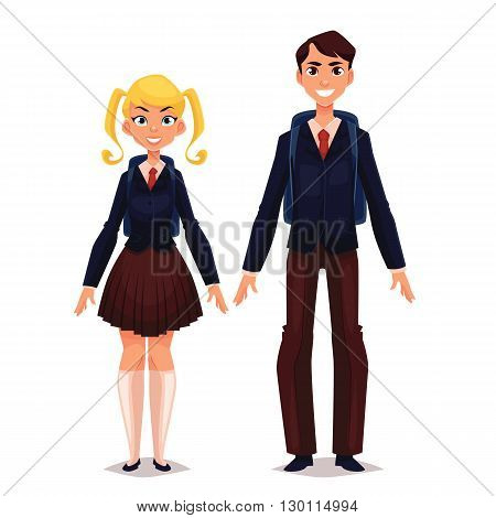 Students in school uniform, vector cartoon comic illustration isolated on a white background, two schoolboy boy and girl standing at full length in a school uniform