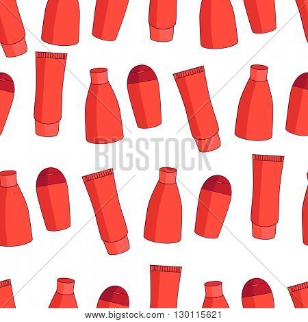 Seamless red pattern with lotions and cream containers.Color, white and red. Endless fashion texture with cosmetics for your design