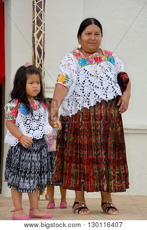 SANTA CRUZ GUATEMALA MAY 03 2016: Portrait of a Mayan child and mother. The Mayan people still make up a majority of the population in Guatemala.