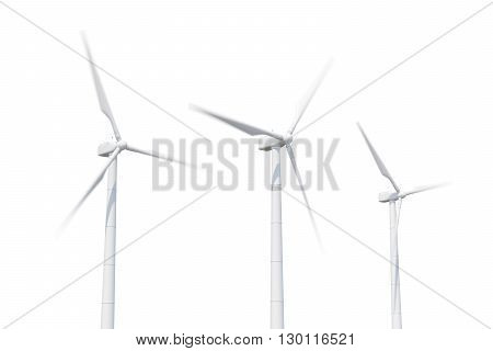 Wind turbine isolated on white background. 3d illustration