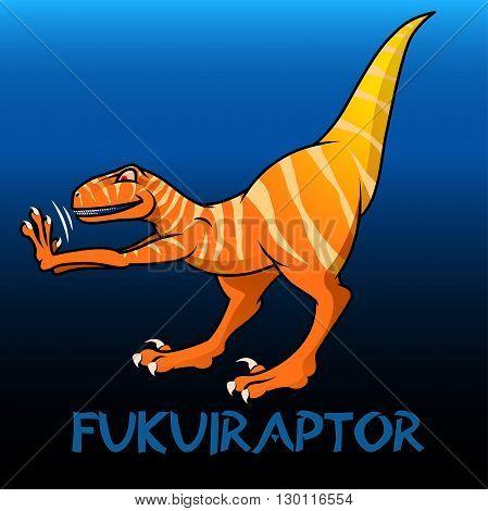 An orange Fukuiraptor cute character dinosaurs .