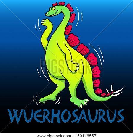 A green Wuerhosaurus cute character dinosaurs .