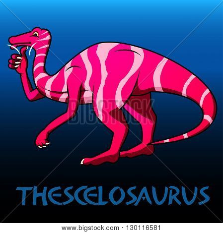 A pink Thescelosaurus cute character dinosaurs .