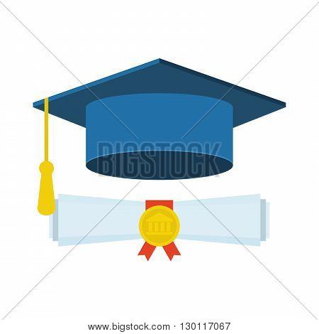 Graduation cap and diploma icon, Graduation cap and diploma web icon