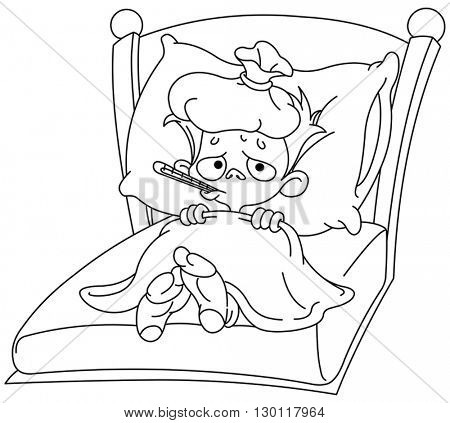 Outlined sick kid lying in bed. Vector illustration coloring page.