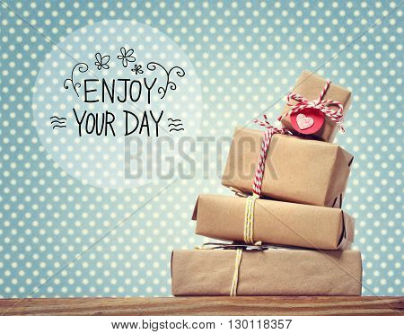 Enjoy Your Day Message With Gift Boxes
