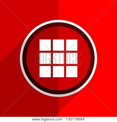 red flat design thumbnails grid web modern icon
