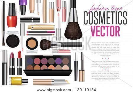 Cosmetics poster. Brushes, powder, lipstick, eye pencil, nail polish. Cosmetics concept design for cosmetics ads, beauty salon, shop. Fashion cosmetics product presentation poster. Makeup accessories set. Cosmetics sale background. Fashion illustration.