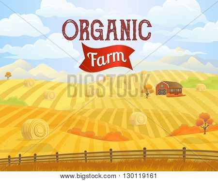 Countryside landscape vector illustration with haystacks on fields. Rural area landscape countryside house. Meadow landscape. Rural background. Hay bales. Farming life concept. Hay bales rural landscape. Countryside field. Rural landscape vector.