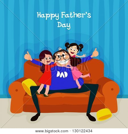 Cute daughters hugging and kissing their father on occasion of  Happy Father's Day celebration.