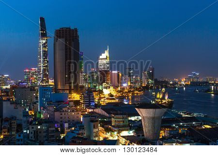 HO CHI MINH, VIETNAM - CIRCA JAN, 2016: Top view of Ho Chi Minh City at night. Ho Chi Minh, former Saigon, is located in the South of Vietnam, is the country's largest city, population 8 million.