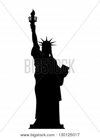 Silhouette Statue Of Liberty In Usa. Contour National Symbol Of America. State Attraction Of Country
