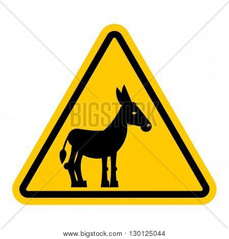 Warning Sign Attention Donkey. Dangers Yellow Sign Stupid Man. Ass On Yellow Triangle. Set Of Road S