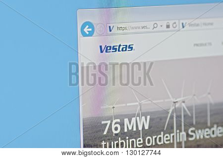Saransk, Russia - CIRCA, 2016: A computer screen shows details of Vestas main page on it's web site