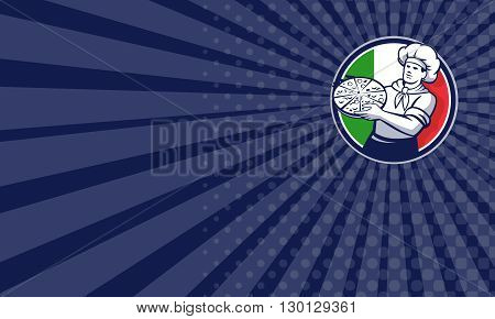 Business card showing illustration of a pizza chef baker holding pizza viewed from front set inside circle with italy flag in the background done in retro style.