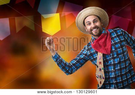 Brazilian man wearing junina costume (Festa Junina)