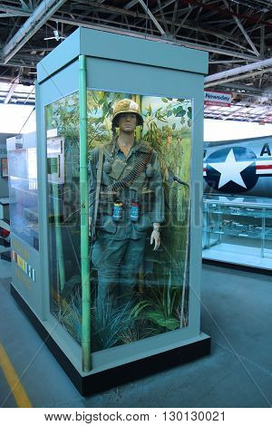 FARMINGDALE, NEW YORK - APRIL 14, 2016: Vietnam War uniform, equipment and weapons on display at the American Airpower Museum in Farmingdale,  New York.