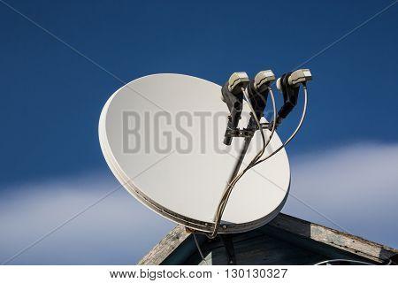 beautiful white satellite dish antennas under sky