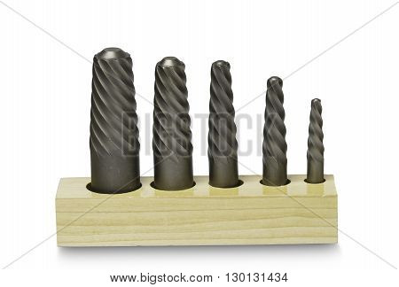 Screw extractor set with white background