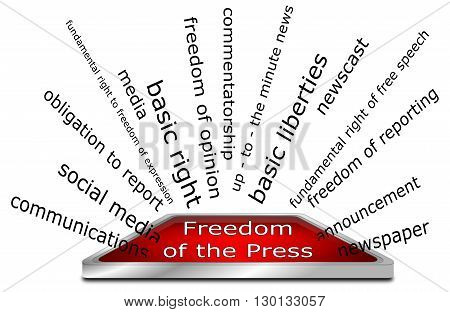 Freedom of the Press wordcloud - 3D Illustration