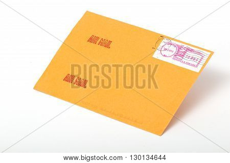Yellow post envelopes with letters and a blank space for the address or an inscription