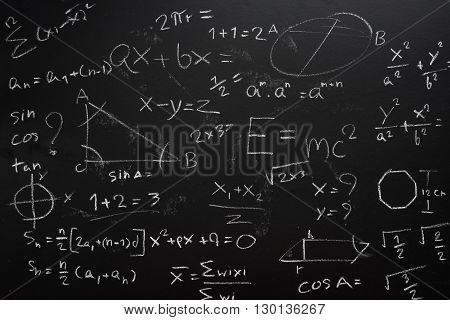 Teacher Hand drawn mathematics analysis on chalkboard.