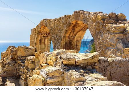 Old greek arches ruin city of Kourion near Limassol, Cyprus