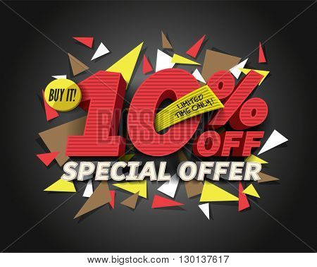 Sale 10% off with abstract triangle elements. Sale background. Special Offer. Sale poster. Sale vector. Vector illustration.