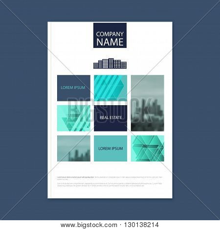 Brochure template design. Concept of architecture design with photo frame. Vector illustration. Brochure template for real estate company. Brochure template for print or website. - stock vector