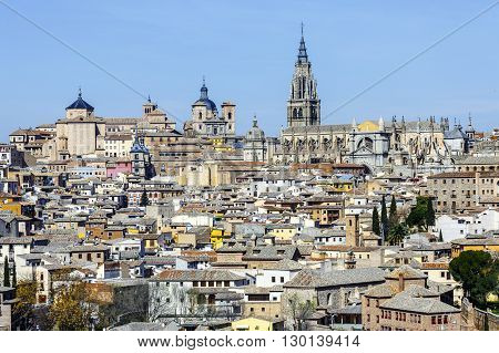 Toledo Spain. Church San Ildelfonso in ancient city on a hill over the Tagus River Castilla la Mancha medieval attraction of Espana.