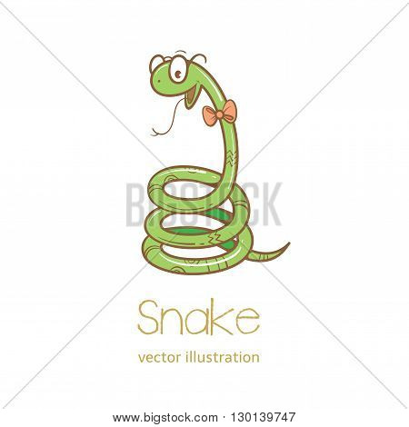 Summer card with cute cartoon  snake  in  glasses.  Vector image. Children's illustration.